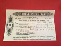 Radiation Limited 1939 Final Dividend for year 1938 receipt   R34991