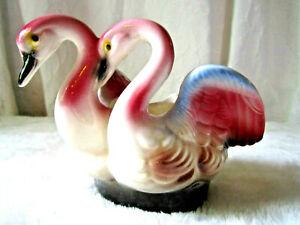 VINTAGE CERAMIC PINK FLAMINGO'S PLANTER LOVE BIRDS  MID CENTURY RETRO