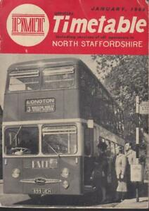 PMT BUS TIMETABLE BOOK NORTH STAFFORDSHIRE JAN 1964 WITH ROUTE MAP