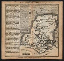 Antique county map of Hampshire by Badeslade & Toms 1742 old chart
