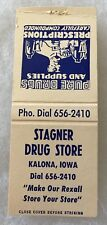 "Kalona Iowa STAGNER DRUG STORE ""PURE DRUGS & SUPPLIES"" Matchbook Cover"