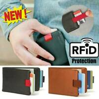 Handmade RFID Blocking Geniue Leather Designer Slim Pull-Out Money Card Wallet