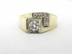 Vintage 14k Yellow Gold 10mm Natural .45ct Diamond Mens Gens Ring 7.4g