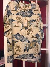 NWT  2xb Caribbean Rayon/Silk Blend Off White   Blue Hawaiian Shirt $89