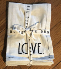 New Rae Dunn Set of 4 Cotton Linen Blend Napkins LOVE Embroidered