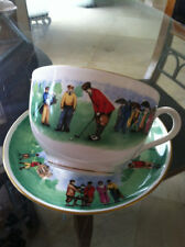 Vintage Golf Golfer Tee Time Tea Cup and Saucer Set PERFECT! Fine Bone China