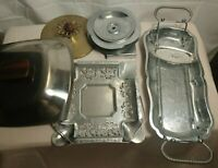 LOT of Misc stainless kitchen Ware Lids trays holder VINTAGE Brass Silver plate