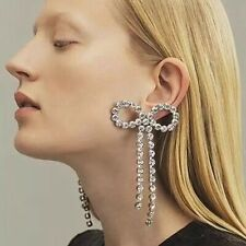 Stunning Major Designer Style Rhinestone Bow Embellished Runway Drop Earrings