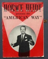 1950s Era Big Band Leader Horace Heidt American Way Radio Show Program-Vintage!*