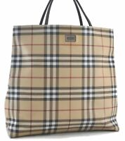 Authentic Burberry Nova Check PVC Tote Bag Brown Beige C1412