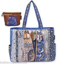 Laurel Burch Autumn Feline Cat OVERSIZED Tote Travel Beach Sport Azul Makeup Bag