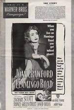 FLAMINGO ROAD pressbook, Joan Crawford, Zachary Scott, Sydney Greenstreet