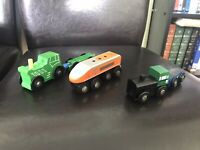 MAGNETIC WOODEN VEHICLES - 2 X TRACTORS ,2 X Trailers & Train