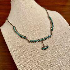 "Silver Snake Eye Necklace 17"" Old Pawn Native American Zuni Sterling"
