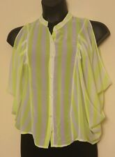 Vertical Lime Green Stripes Button Down Loose Fit Sheer Top Sexy Blouse L QCO