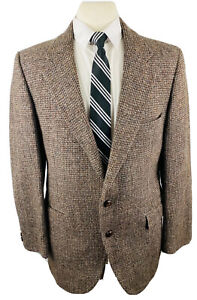 Vintage Stafford Harris Tweed Mens 40R Brown Wool Blazer Sport Coat Suit Jacket
