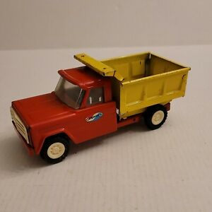 Structo Kom-Pak Hydraulic Dump Truck 1960s Pressed Steel Toy Made USA Red Yellow