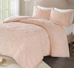 PINK CHENILLE VINTAGE PLUSH COTTON 3pc COMFORTER SET: Queen, King or Cal King