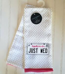 New Set of 2 Just Wed Cynthia Rowley Kitchen Tea Dish Towels Wedding Happily