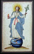 Herz Maria antike Klosterarbeit Koloriert Pergament Stoff Heiligenbild (D-3399++