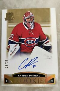 Cayden Primeau Rookie Auto 29/36 Gold 2019-20 Upper Deck The Cup Montreal Habs
