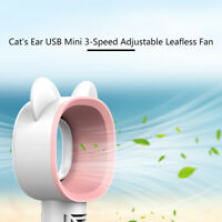 Portable Bladeless Handheld Fan USB Rechargeable 3 Fan Speed No Leaf Mini Cooler