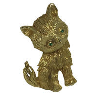 Kitty Cat Pin Brooch Unique Green Rhinestone Eyes Gold-Toned Metal 2 Inches Tall