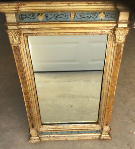 1930 Borghese Labeled copy of 18th C French Antique Parcel Gilt Trumeau Mirror