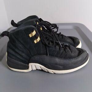 "Jordan Retro 12 ""Reverse Taxi"" Youth Boys Size 6.5Y Shoes Black/White Sneakers"