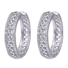Cubic Zirconia Designer Hoop Earrings White Gold plated 418 2E 7