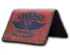 LUCKY 13 [WINGED PISTON] KREDITKARTENHALTER CARD HOLDER LEDER GELDBÖRSE ROCKABIL