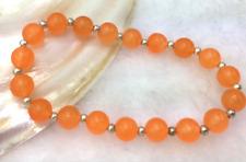 Pretty 8mm Round Orange Jade Gemstone Beads Bracelets 7.5Inch J3262
