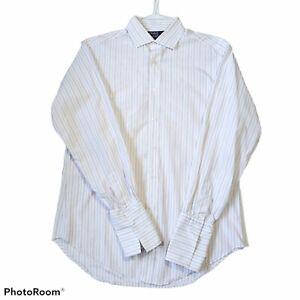 Polo Ralph Lauren Purple Label Sea Island Cotton Pinstripe Button Down Shirt Top
