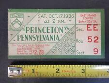 1936 OCT 17 PRINCETON VS PENNSYLVANIA FRANKLIN FIELD NCCA FOOTBALL TICKET $2.28