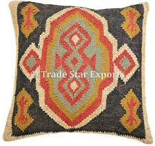 Indian Handwoven Kilim Cushion Cover 2 Pcs 18x18 Jute Rug Square Pillow Cases