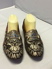 Sam Edelman  Lior Black Gold Embroidered Flat Women Loafers Shoes Size  8 M