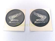 "2pc Honda Gas Fuel Tank Round 2"" Sticker Decal Emblem Printed Wing Soft Gel Dome"