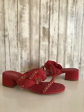 CHANEL 17P Red Suede Braided Gold Chain CC Block Heel Mule Sandal Pump 39.5