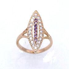 Hot! Purple Amethyst Zircon 18K Gold Plated Bride Women Jewelry Open Ring Size