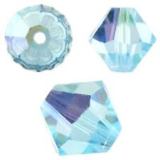 Swarovski Crystal Bicone. Aquamarine AB Color. 4mm. Approx. 144 PCS. 5328