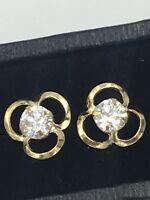 Classic Stylish 9ct Yellow Gold Trefoil CZ Set Ear Ring Studs #430