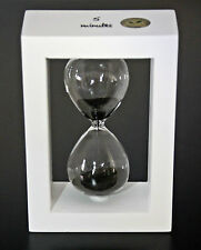 ⌛ RARE UNIQUE LUXURY WHITE FRAMED BLACK SAND HOURGLASS CLEAR GLASS TIMER 5 min ⌛