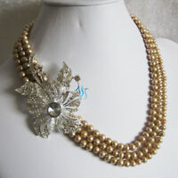 """18-20"""" 5-7mm 3Row Freshwater Pearl Necklace XX2844 Wedding UK——MORE COLORS"""