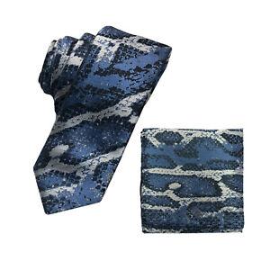 New Men's Micro Fiber Neck Tie & Hankie Set Snake animal print Black Blue