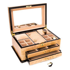 "Bey Berk Birdseye Maple"" Lacquered Wood 3 Level Jewelry Box"
