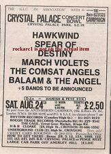 HAWKWIND UK TIMELINE Advert - Crystal Palace Bowl  Sat 24-Aug-1985 5x3 inches #2