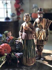 "VINTAGE FOLK ART 19"" WOOD CARVED CORN HUSK THANKSGIVING AMISH PILGRIM MAN WOMAN"