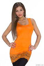 Longtop Tunika Top Shirt Tanktop Bluse Longshirt Stretchtop Spitze 36-40