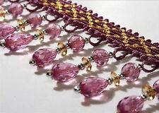 1m Curtain Sewing Tassel Fringe Fabric Trim Tassel Crystal Lace Accessory Purple