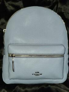 NWT COACH MED CHARLIE CORNFLOWER BLUE  SILVER ZIP LEATHER  BACKPACK~FREE US S&H
